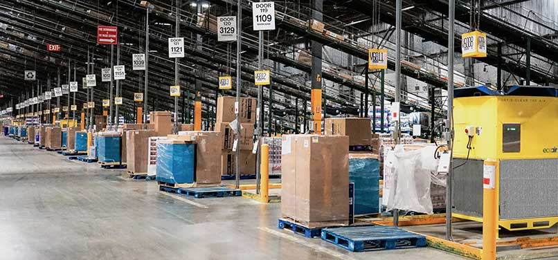Ecoair systems installed at Walmart Canada warehouse in an area of a million square feet. Walmart uses ecoair to destratify their shipping area